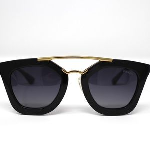 Prada CINEMA PR09QS Cat Eye Sunglasses - Black